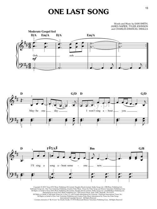 Modernistyczne Sam Smith: The Thrill of It All (Easy Piano) - nuty na pianino w VN67