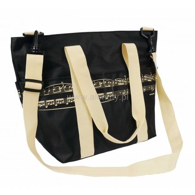 Prezent dla nauczyciela muzyki - Elegancka torba na ramię z motywem nutowym