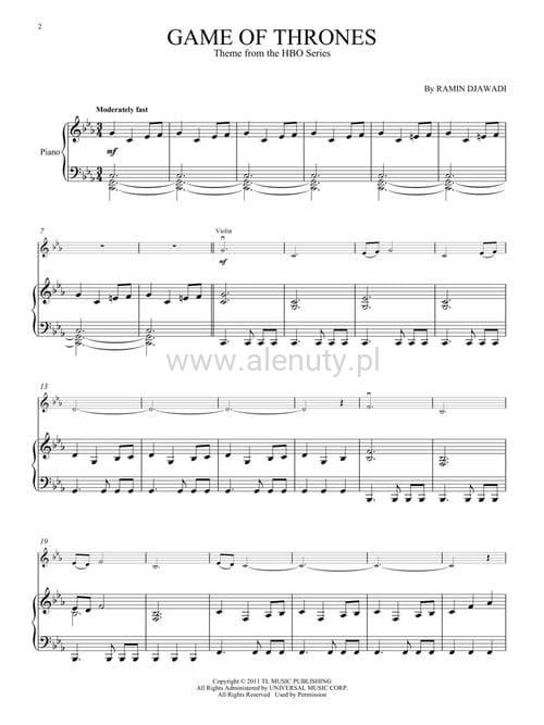 Poważnie Djawadi: Game Of Thrones Theme for Violin and Piano - temat z DF64