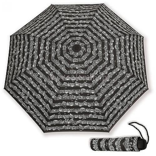 Składany parasol czarny w nuty Bacha