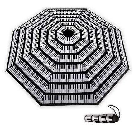 Składany parasol z klawiaturą fortepianu