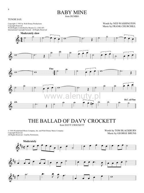 101 Disney Songs: Tenor Sax - nuty na saksofon tenorowy