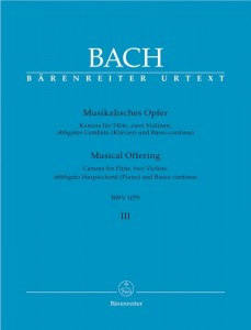Bach J.S. - Musical Offering BWV 1079 - Volume 3: Canons for flute, two violins, obbligato harpsichord (piano) and basso continuo - Muzyczna ofiara tom 3 - nuty na zespół instrumentalny