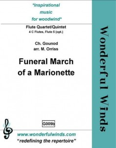 Gounod: Funeral March Of A Marionette for Flute Quartet or Quintet - nuty na kwartet lub kwinet fletowy