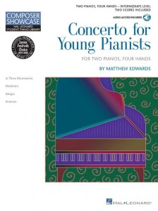 Composer Showcase: Matthew Edwards - Concerto for Young Pianists - nuty na dwa fortepiany, cztery ręce (+ audio online)