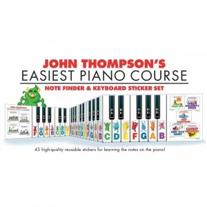 John Thompson's Easiest Piano Course: Note Finder and Keyboard Sticker set - 43 naklejki na klawisze fortepianu do nauki gry na pianinie