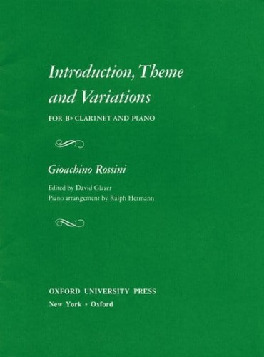 Rossini: Introduction, Theme and Variations for Clarinet and Piano - nuty na klarnet i fortepian