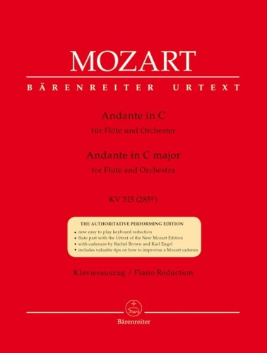 Mozart: Andante for Flute and Orchestra in C major KV 315 (285e) - Andante C-Dur - nuty na flet poprzeczny i fortepian
