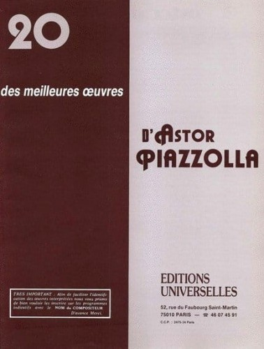 Astor Piazzolla - 20 Des Meilleures Oeuvres - nuty na fortepian lub akordeon