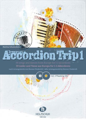 Accordion Trip 1 - Songs and Dances from Europe for 1-2 accordion (+ 2 płyty CD) - nuty na akordeon lub dwa akordeony